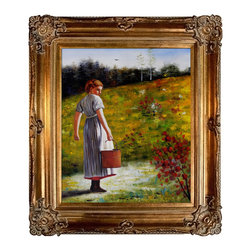 overstockArt.com - Homer - Returning From The Spring Oil Painting - One of Winslow Homer's famous images, Returning From The Spring , is a captivating view of a young girl walking the countryside, carrying a small bucket. Originally created in 1874, today it has been hand painted on canvas, color for color and detail for detail. An American landscape painter, best known for his marine subjects. He was largely self-taught and is considered one of the foremost painters in 19th century America. Enjoy his rich and beautiful imagery captured in a hand oil painting. This image is sure to gain admirers.