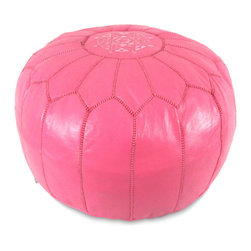 Ikram Design - Dark Pink Moroccan Leather Pouf - Cheerful and functional, our Moroccan poufs blend perfectly in any decor whether it is ultra modern or classic, Each piece is well crafted to provide the modern look and the reliable service for many years, you will absolutely find the pouf suitable for your own space.These gorgeous pieces will brighten your place and become your work of art, They come pre-stuffed with filling fiber.