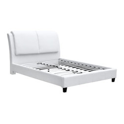Fine Mod Imports - Queen Platform Bed in White - Includes slats for box spring mattress. Contemporary style. Faux leather upholstery. Wooden Frame. Overstuffed headboard. Warranty: One year. Assembly required. 96 in. L x 64 in. W x 45 in. H