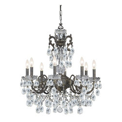 Crystorama - Legacy Wrought Iron Chandelier - Make a statement in any dining room or foyer with crystorama legacy collection. This distinctive wrought iron fixture mixes the warm tones of the English bronze with clear hand cut crystal accents to create a classically styled traditional chandelier.