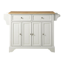 Crosley - Crosley KF30001BWH LaFayette Natural Wood Top Kitchen Island in White Finish - Constructed of solid hardwood and wood veneers, this kitchen island is designed for longevity. The Beautiful raised panel doors and drawer fronts provide the ultimate in style to dress up your kitchen. Two deep drawers are great for anything from utensils to storage containers. Behind the four doors, you will find adjustable shelves and an abundance of storage space for things that you prefer to be out of sight. Style, function, and quality make this kitchen island a wise addition to your home.
