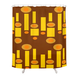 Crash Pad Design - Mid Century Modern  Shower Curtain - Homer - A playful pop of color in intriguing shapes is just what your bathroom decor needs, and this mod shower curtain will provide just that. The retro-inspired brown, yellow and orange geometric pattern is printed on this 100 percent polyester curtain, which features 12-stitched button holes for hanging.