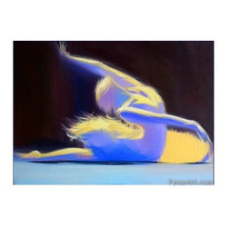 "Abstract Ballet Dancer Print - Ballet dancer print ""Soul Glow"" from my original ballerina painting made with the eco solvent ink on canvas. Blue ballet dancer print´s size is 40x55cm / 15,7"" x 21,6"". I send the abstract print stretched. Shipping worldwide. Please read the shipping info http://etsy.me/Yk9XEZ"