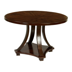 Furniture of America - Furniture of America Briggs Contemporary Dark Walnut 48-inch Dining Table - This contemporary dining table is the perfect size for kitchen nooks or smaller dining areas. The dark walnut finish brings a rich beauty to this piece,which is accentuated by the gently curving legs and the subtle tabletop pattern.