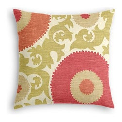 Coral & Green Giant Suzani Custom Throw Pillow - The every-style accent pillow: this Simple Throw Pillow works in any space.  Perfectly cut to be extra fluffy, you'll not only love admiring it from afar but snuggling up to it too! We love it in this oversized suzani of sunbursts and flames swirling in bright coral, spring green and beige on heavy basketweave cotton.  A statement for spaces modern, boho, and eclectic alike.