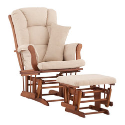Stork Craft - Stork Craft Tuscany Glider and Ottoman with Free Lumbar Pillow in Cognac with Be - Stork Craft - Rocking Chairs Rockers - 0655451C - Available in 6 wood finishes and 4 fabric combinations to create your own custom Tuscany Glider and Ottoman. The Stork Craft Tuscany Glider and Ottoman set offers gentle motion while feeding your baby in those early morning hours. Featuring a solid construction with a magical sleigh design this is a royal centerpiece for your nursery. The enclosed metal ball-bearings allow for an incredibly smooth motion to glide your baby back to sleep. Micro fiber spot-cleanable cushions ease the worry about spills while the construction offers an exquisite finish you'll appreciate far beyond the baby years. The Tuscany Glider comes with a matching soft plush lumbar support pillow for supporting your baby during feeding times.