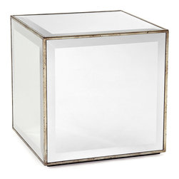 Mirror Cube Side Table - Geometric, upscale, and radiant, this side table is a perfect cube, sleekly inlaid with large, square panes of neatly beveled mirror.  Antiqued silver leaf completes each edge, conferring a handsomely distressed metallic look that creates texture and taste in the simple shape.  A majestic addition to transitional decor, the mirrored end table lightens your space and doubles the images of favorite spots and textures in the design of your home.