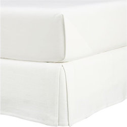 Matelasse Queen Bedskirt - Bright white Portuguese cotton in a richly textured matelass� weave complements virtually any bed linens. Finely tailored with split corners.