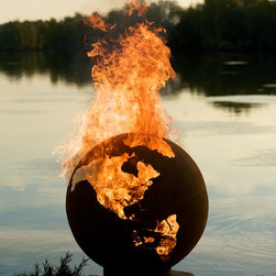 Third Rock Wood Burning Firepit - One of this artists greatest masterpieces, a rendition of the planet we all know and love... Earth. I want to find the perfect place for this large fire feature.  Each one is made to order so you know that you have a one of a kind work of art.