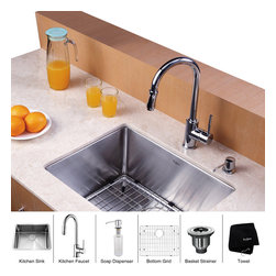 Kraus - Kraus 23 inch Undermount Single Bowl Stainless Steel Kitchen Sink with Chrome Ki - *Add an elegant touch to your kitchen with unique Kraus kitchen combo