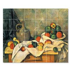 Picture-Tiles, LLC - Stilleben Draperie Krug Und Obstschale Tile Mural By Paul Cezanne - * MURAL SIZE: 40x48 inch tile mural using (30) 8x8 ceramic tiles-satin finish.