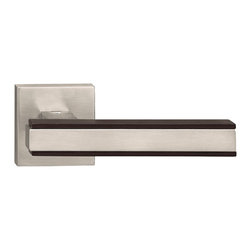 Door Lever Set Munich, Mate Satin Steel Effect with Lacquer Cherry Wood - This modern and stylish lever set will enhance your interior door and makes it a true conversational piece. It is from solid cast iron and available in different finishes. The set includes the handles on both sides, both rosettes and the mortise lock for passage or privacy. This lever set is made for custom doors that are not pre-hung or prepped for standard handles.