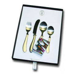 Pott - Bonito, Children Set of 4, Stainless Steel - Gift Box - A place setting of their own: Give your child a silverware set that replicates the grown-up versions, scaled for smaller hands. Beautifully boxed, this set makes a striking gift that salutes a child's place at the table.