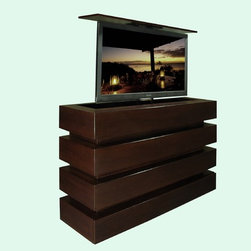 """Automated TV lift furniture. This US Made TV lift furniture comes in 5 woods - Beautiful and dynamic automated TV lift furniture cabinets by """"Best of Houzz 2014"""" for service, Cabinet Tronix.  This Le Bloc shown made of Mahogany with a clean Espresso finish."""
