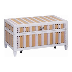 "Stein World - Stein World Cabana Stripe Trunk - The Cabana Stripe Truck features a lift up top with beautiful silver handle. Completed in a ""Ticking"" fabric and nail head trim This piece is a must have for any one."