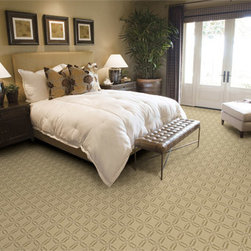 """Masland Carpets - Gibraltar in Crepe - Gibraltar is a dense, heavy solution dyed product that is sure to live up to its name. The tight construction, combined with its durability and stain resistance, make this a perfect product for any interior. The linking octagonal motif presents a geometric pattern that will transition to any room setting, hotel lobby or entry way. Ten trend right color ways were created to ensure that this will be Masland's """"Rock""""."""