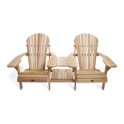 All Things Cedar - All Things Cedar TT36U Athena Side Tete-a-Tete Adirondack - Comfortable athena styled adirondack seating for 2 complete with joining table and handy magazine rack    Dimensions:   75 x 36 x 37 in. (w x d x h)