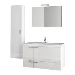 ACF - 39 Inch Glossy White Bathroom Vanity Set - Set Includes: Vanity Cabinet (2 Doors,1 Drawer), high-end fitted ceramic sink, wall mounted vanity mirror, tall storage cabinet.