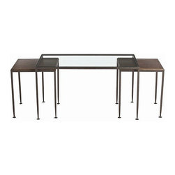Arteriors Home - Arteriors Home Hammered Iron Nesting Cocktail Tables, Set/3 - Arteriors Home 655 - Arteriors Home 6559 - A modern take on nesting tables offers a space saving option with 2 square occasional tables that fit neatly beneath glass topped rectangular coffee table in waxed hammered iron with oxidized brass finish.