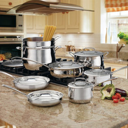 Cuisinart - Cuisinart Contour Stainless 13-piece Cookware Set - Cook like a professional with this 13-piece cookware set from Cuisinart. A stainless steel construction and non-stick surfaces highlight this set.