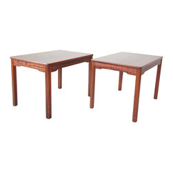 Pair of Swedish Alberts Tibro Lacquered Rosewood Rectangular End Tables - Ref: T2889