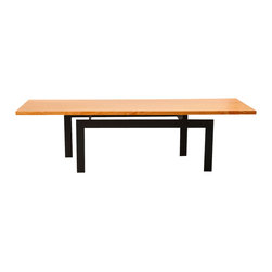 Stylo - Floating Wood and Black Steel Coffee Table - Since you appreciate design that teases the mind, you're looking at your brand new coffee table. The simple wood surface seems to float above the black steel legs, making it an ingenious addition to your modern space.