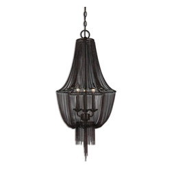 None - Lezzeno 3-light Metal Lighting Fixture Chandelier - Made of dark oil rubbed bronze metal,this Lezzeno chandelier features a draped jewelry chain,giving this chandelier mystique. Glowing with three 60-watt bulbs,this chandelier is simply sultry and attractive.