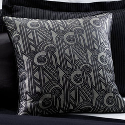 Palmer Black Deco Pillow - Add a festive feel to your furniture with this art deco throw pillow by Ralph Lauren.