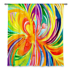 "DiaNoche Designs - Window Curtains Unlined - Rachel Brown Seat of the Soul - DiaNoche Designs works with artists from around the world to print their stunning works to many unique home decor items.  Purchasing window curtains just got easier and better! Create a designer look to any of your living spaces with our decorative and unique ""Unlined Window Curtains."" Perfect for the living room, dining room or bedroom, these artistic curtains are an easy and inexpensive way to add color and style when decorating your home.  The art is printed to a polyester fabric that softly filters outside light and creates a privacy barrier.  Watch the art brighten in the sunlight!  Each package includes two easy-to-hang, 3 inch diameter pole-pocket curtain panels.  The width listed is the total measurement of the two panels.  Curtain rod sold separately. Easy care, machine wash cold, tumble dry low, iron low if needed.  Printed in the USA."