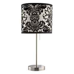Coaster - 901277 Table Lamp - Set of 2 - Decorative table lamp with a black and white damask print shade and brushed nickel finished base.