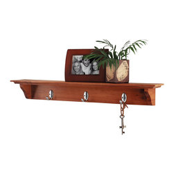 Lewis Hyman - Traditional Shelf w Oak Finish & 3 Metal Hook - The Yorkshire wall shelf is as functional as it is beautiful.  The traditional beveled-edge design is accented by gracefully curved support brackets.  Three silver-tone metal single hooks are permanently attached to keep items neat and in their place.  The rich oak finish is a popular choice, and will blend well with most any decor. Shelf may vary/appear darker than the actual finish shown in photo. 30 in. W x 4 in. D. Made from Wood. Mounts securely to your wall. Hidden mounting system. English Oak finishThe shelf offers a wide variety of options. It can be used to hold those winter coats or to display your favorite collectibles.