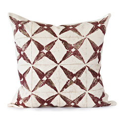 BY MERCATO - Burgundy Star Throw Pillow - Our burgundy stylized star pillow design uses deep burgundy and brown color to create depth in the pattern.  The pillow is then accented with a light tan grid and a spattering of the same color.