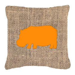 Caroline's Treasures - Hippopotamus Burlap and Orange Fabric Decorative Pillow Bb1130 - Indoor or Outdoor pillow made of a heavy weight canvas. Has the feel of Sunbrella fabric. 14 inch x 14 inch 100% Polyester Fabric pillow Sham with pillow form. This pillow is made from our new canvas type fabric can be used Indoor or outdoor. Fade resistant, stain resistant and Machine washable.