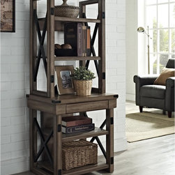 None - Wildwood Rustic Audio Pier Metal Frame Bookcase - Give your audio-video components a stylish new home with this industrial-chic two-tier audio pier. Features a rustic grey finish with contrast metal side frames, this bookcase offers three open shelves for A/V devices, books, accents and more.