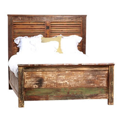 Shabby Chic Louvered California King Bed - A wonderful story. A green story. Restored and available for a new, eco-friendly generation. Inspired by the hand tools used in ancient art of printing fabrics and by centuries-old hand carved panels adorning the inside and facades of aged buildings. The perfect piece of handmade artwork to incorporate into any bedroom.