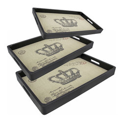Zeckos - Set of 3 Paris Postcard with Crown Decorative Nesting Trays - This set of 3 trays adds a decorative accent to any table or desk. They are made of wood, have a black leatherette covering, and have a burlap liner featuring an image of a Parisian postcard, complete with postmarks. The largest tray measures 17 3/4 inches long, 12 inches wide, 1 1/2 inches high, the middle one is 16 3/4 inches long, 11 inches wide, 1 1/2 inches high, and the smallest tray measures 15 3/4 inches long, 10 inches wide, 1 1/2 inches high. Use them to display groups of small items, to sort mail, or to serve snacks.