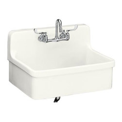 "KOHLER - KOHLER K-12700-0 Gilford Apron-Front, Wall-Mount Kitchen Sink, 30"" x 22"" in Whit - KOHLER K-12700-0 Gilford Apron-Front, Wall-Mount Kitchen Sink, 30"" x 22"" in WhiteThe integral apron front and backsplash of the Gilford kitchen sink blend nostalgic appeal with modern functionality. This vitreous china sink offers a large single-basin to accommodate a variety of kitchen tasks, and features a two-hole faucet drilling.Please see our Delivery Notes for Freight Shipments for products that are oversized and/or are too heavy to ship UPS ground. KOHLER K-12700-0 Gilford Apron-Front, Wall-Mount Kitchen Sink, 30"" x 22"" in White, Features:• Wall-mount or self-rimming installation blend nostalgic appeal with functionality"
