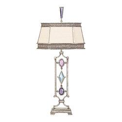 Fine Art Lamps - Fine Art Lamps 729810-1ST Encased Gems Silver Multi Color Crystal Table Lamp - 1 Bulb, Bulb Type: 50/100/150 Watt Medium; Weight: 16lbs