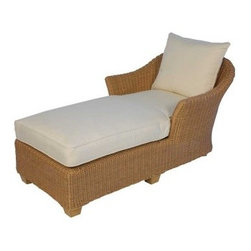 Lloyd Flanders Napa All-Weather Wicker Chaise Lounge - Give your free time the respect it deserves when you unwind on the Lloyd Flanders Napa All-Weather Wicker Chaise Lounge. The shape may seem simple, but the design of this all-weather lounger is anything but. A rust-proof aluminum frame is wrapped in hand-woven resin wicker, a material that has the look of organic rattan but with a vinyl composition that makes it impervious to rain, rot and cracking. The plump, supportive cushions are filled with a premium core of dense foam and polyester fiber that's wrapped in a multi-layer jacket that creates a waterproof barrier that keeps your cushions dry and soft in any climate. The exterior of the cushion is covered in your choice of appealing outdoor fabrics, so there's no reason to not love this modern chaise lounge.About Lloyd/FlandersCarrying on the traditions of Marshall B. Lloyd, Lloyd/Flanders brings the sophistication of timeless furniture designs to a sophisticated, modern audience. Using modern production processes and materials, these classic styles are faithfully rendered in a way that can be enjoyed by customers anywhere with high-quality construction and reliable, all-weather designs.