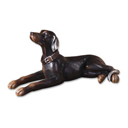Uttermost - Resting Dog Aged Black Statue - Celebrate the beauty of man's best friend in your favorite setting. This handsome hound has an aged black finish and the alert, loyal expression that sums up everything we love about dogs.