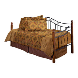 Hillsdale Furniture - Hillsdale Madison Daybed - Popular combination of wood and iron elements makes this a great design. Square solid wood posts are combined with black metal grills that feature round twisted wire spindles.