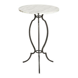 Kathy Kuo Home - Porter House Accent Marble Zinc Round Side Table - Set of 2 - With an accent on elegance, this stunning and stylish side table is petite enough for placement in small spaces. Finished in dark silver gray, with a magnificent marble top, this ornate side table has a substantial zinc base with sculpted curves.