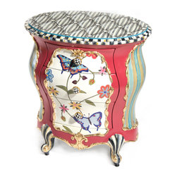 Butterfly Accent Chest   MacKenzie-Childs - Exuberantly hand-painted with bursts of colorful stripes and a crewel-inspired pattern of butterflies and spring flowers. The Butterfly Accent Chest features gold leaf, Courtly Check®, and Courtly Stripe accents. The top is hand-painted to resemble black and white ticking fabric. Includes Courtly Check® ceramic drawer pulls and hand-painted cabriole legs.