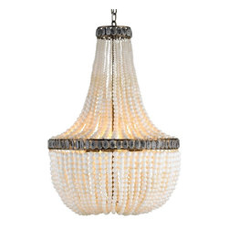 Currey & Company Hedy Chandelier - Currey & Company Hedy ChandelierCaptivating cream and gray polished glass, both applied by hand, create the classically shaped Hedy Chandelier. Hedy will add excitement and color to any of today's interiors. The hand finishing process used on this chandelier lends an air of depth and richness not achieved by less time-consuming methods.Material: Wrought Iron/Glass