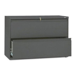"HON 800 Series 42 Inch Two Drawer Lateral File Cabinet - Add useful storage space to your office with the Hon 800 Series Two Drawer Lateral File, which keeps your files organized while providing a handy spot for a printer or other accessories on top. Made of heavy-duty steel, this sturdy file cabinet features two drawers that smoothly roll out on a three-part, telescoping slide suspension system operating on whisper-quiet steel ball bearings. Adjustable side-to-side hangrails hold hanging legal- or lateral-size files, and an innovative counterweight prevents tipping. Leveling glides adjust for uneven floors to further ensure stability. Recessed, full-width, designer-style drawer pulls make access easy, while both drawers conveniently lock using a single """"One Key"""" core removable lock for complete security when needed. Magnetic labels are supplied for each drawer to keep you organized.About the HON CompanyHeadquartered in Muscatine, Iowa, the HON Company is established as a leader in the office furniture industry. The HON Company designs and manufactures products including chairs, files, panel systems, tables, and desks. With several national manufacturing facilities, the company provides products through a system of dealers and retailers throughout the United States. In an effort to think and act green, the HON Company uses less packing material, reduces their amount of fabric waste, and uses recycled wood from other furniture."