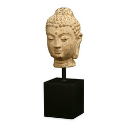 China Furniture and Arts - Buddha Head Statue - A replica of Tang (618 AD) Buddhist art, the down-cast eyes of the Buddha express his inward meditative character. Custom-made wooden stand.