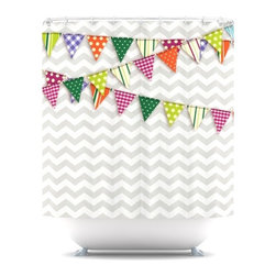 Original 'Flags 1' Shower Curtain - It's a shower. It's a party. I'd be happy with it on a hot summer afternoon.