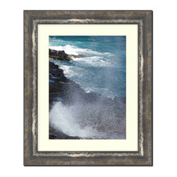 Frames By Mail - Wall Picture Frame Black with Moss Silver highlights - acid-free matte, 8x10 - This 8X10 black custom frame with has moss silver highlights is imported from Italy.  The white matte can be removed to accommodate a larger picture.  The frame includes regular plexi-glass (.098 thickness) foam core backing and can hang either horizontal or vertical.
