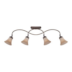 Quoizel - Quoizel Aliza Ceiling Track Light X-NP4041ZLA - Aliza is elegant and stylish a beautiful collection for todays home. Featuring sleek oval tubing and a versatile Palladian bronze finish, this collection compliments any decor with trumpeted fluted glass in a soft gradient amber mist.