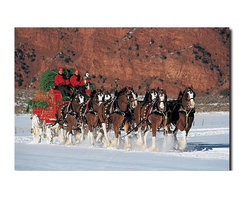 Trademark Global - Clydesdales in Snow w Carriage & Xmas Tree Ca - Gallery wrapped giclee on canvas. Ready to hang. 2 in. thickness. Contemporary style. Subject: Photography. Format: Vertical. Size: Medium. No assembly required. 16 in. W x 24 in. H (4 lbs.)Giclee (jee-clay) is an advanced printmaking process for creating high quality fine art reproductions. The attainable excellence that Giclee printmaking affords makes the reproduction virtually indistinguishable from the original artwork. The result is wide acceptance of Giclees by galleries, museums and private collectors. Gallery wrap is a method of stretching an artist's canvas so that the canvas wraps around the sides and is secured to the back of the wooden frame. This method of stretching and preparing a canvas allows for a frameless presentation of the finished painting.